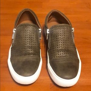 Report olive green faux leather slip on shoes